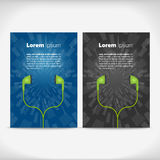 Earphones leaflet design Royalty Free Stock Image