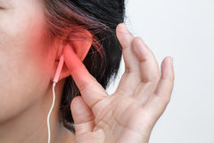 Earphones May Carry Risk of Hearing Loss stock image