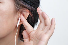 Earphones May Carry Risk of Hearing Loss royalty free stock image
