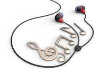 Earphones and metallic music notes Stock Photography