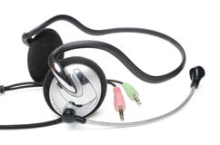 Earphones with microphone01. Earphones with microphone and jack on a white background (headset Stock Photos