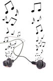 Earphones and music isolated Royalty Free Stock Image