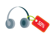 Earphones with Red Sale Tag Fifty Percent Discount Stock Photos