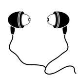 Earphones Silhouette Stock Image