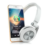 Earphones and smartphone with screen music player Stock Photography