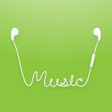 Earphones wireless and remote, earbud type white color Royalty Free Stock Image