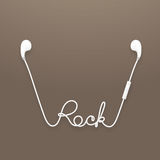 Earphones wireless and remote, earbud type white color and rock text made from cable Royalty Free Stock Images