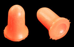 Earplugs. Isolated on a black background Stock Images