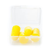 Earplugs in a box for careful storage. Ear noise control protect Royalty Free Stock Photography