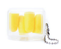 Earplugs in a box for travellers. Ear noise control protection f Royalty Free Stock Photo