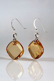 Earring. A pair of earrings on a glossy surface stock image