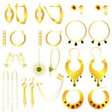 Earring clasps types golden. Vector set Royalty Free Stock Photos
