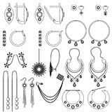 Earring clasps types outline. Vector set Royalty Free Stock Image