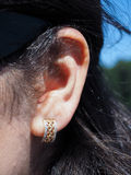 Earring, gold and diamonds Stock Photos