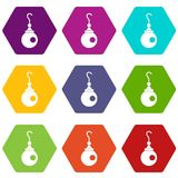 Earring icon set color hexahedron Stock Photo