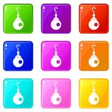 Earring icons 9 set. Earring icons of 9 color set isolated vector illustration Stock Photo