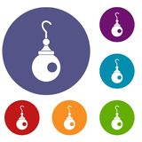 Earring icons set. In flat circle red, blue and green color for web Royalty Free Stock Photos