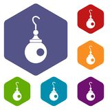 Earring icons set hexagon. Isolated vector illustration Royalty Free Stock Photo