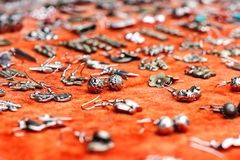 Earring silver scene Stock Photography