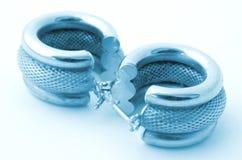 Earrings in blue Stock Photos