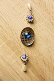 Earrings and brooch Royalty Free Stock Image