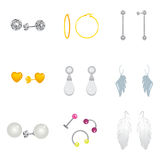 Earrings Collection Set Royalty Free Stock Photos