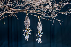 Earrings of costume jewelry Stock Photography