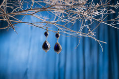 Earrings of costume jewelry Royalty Free Stock Photos
