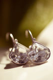 Earrings with crystals stock photography