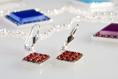 Earrings with diamonds Stock Image