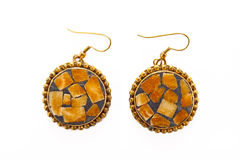 Earrings with fine ornament Stock Photo