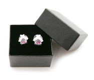 Earrings in a gift box Royalty Free Stock Image