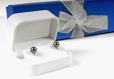 Earrings and Gift Box Stock Photos
