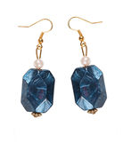 Earrings made of plastic  blue. Collage Stock Photography