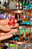 Earrings on a market stall Royalty Free Stock Photography