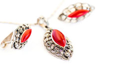 Necklace and earrings stock photo