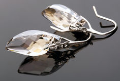 Earrings from oxidized silver with crystal Stock Photos