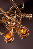 Earrings with precious amber Stock Images