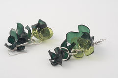 Earrings in recycled plastic bottles Stock Photos