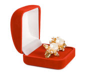 Earrings in red box Royalty Free Stock Images