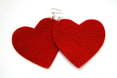 Earrings red hearts Royalty Free Stock Images