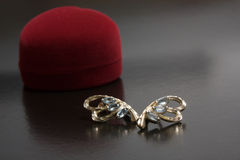 Earrings and red jewelry box Stock Photos