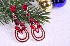 Earrings with red stones on a branch of a Christmas tree with a Stock Photos