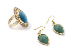Earrings and ring Stock Photography