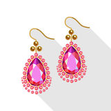 Earrings set (gold pearls, diamonds and ruby)  on white Stock Images