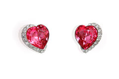 Earrings in the shape of heart Royalty Free Stock Photo