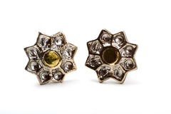 Earrings of silver and gold Stock Image