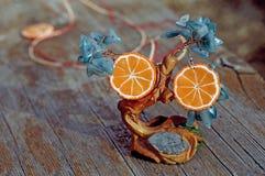 Earrings orange slices on the tree handmade Stock Photos
