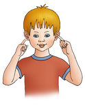Ears. The boy shows on ears royalty free illustration