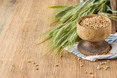 Ears of barley and wheat on the wooden background Stock Image
